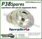 Defender 90 Terrafirma Crossed Drilled & Grooved Solid Rear Brake Discs (Pair)