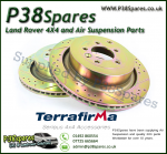 Defender 110/130 Terrafirma Crossed Drilled & Grooved Vented Front Brake Discs (Pair) 94-02